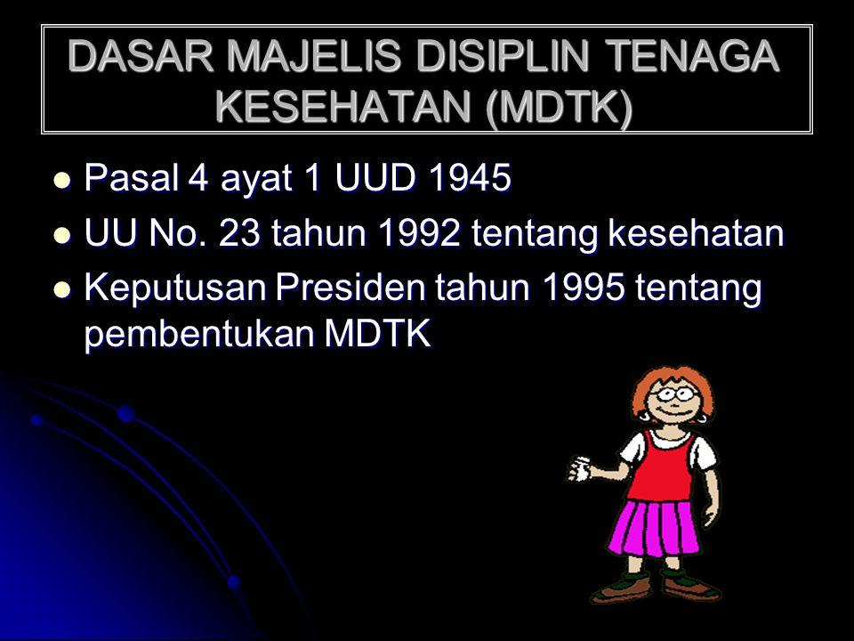DASAR MAJELIS DISIPLIN TENAGA KESEHATAN (MDTK)