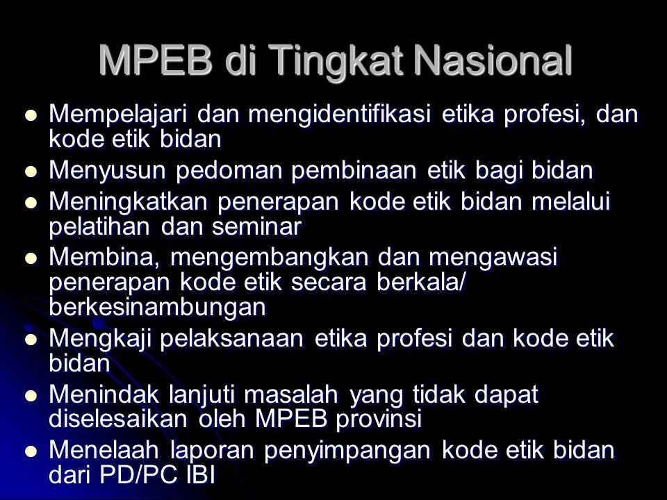 MPEB di Tingkat Nasional