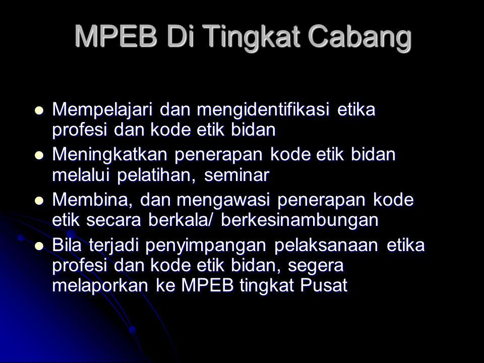 MPEB Di Tingkat Cabang Mempelajari dan mengidentifikasi etika profesi dan kode etik bidan.