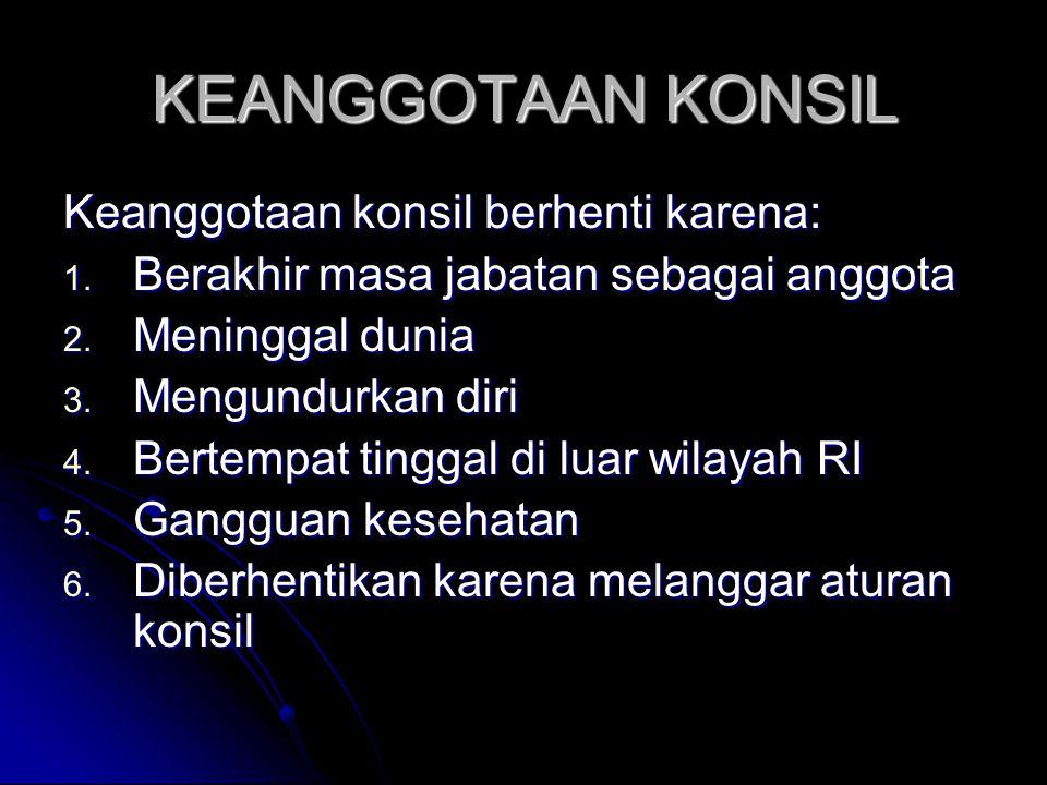 KEANGGOTAAN KONSIL Keanggotaan konsil berhenti karena: