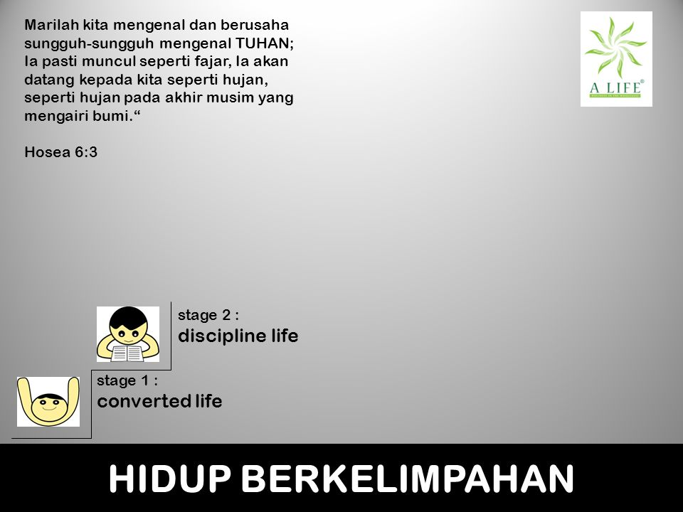 HIDUP BERKELIMPAHAN discipline life converted life