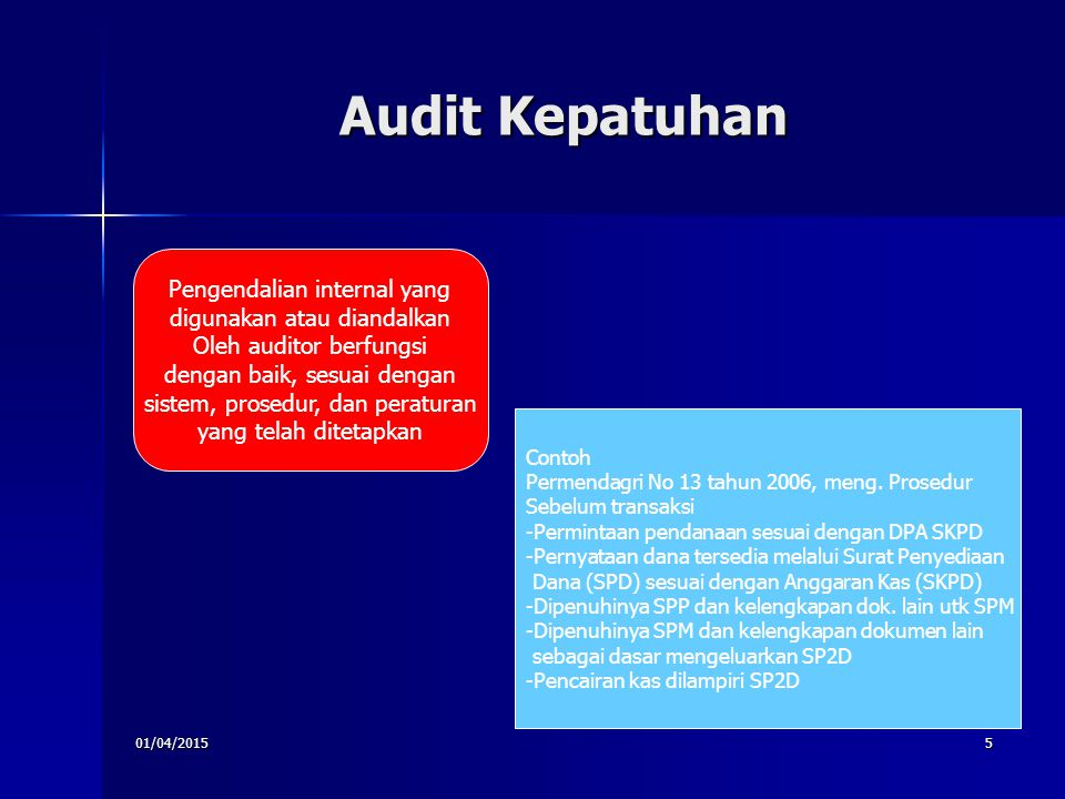 Audit Kepatuhan Pengendalian internal yang digunakan atau diandalkan