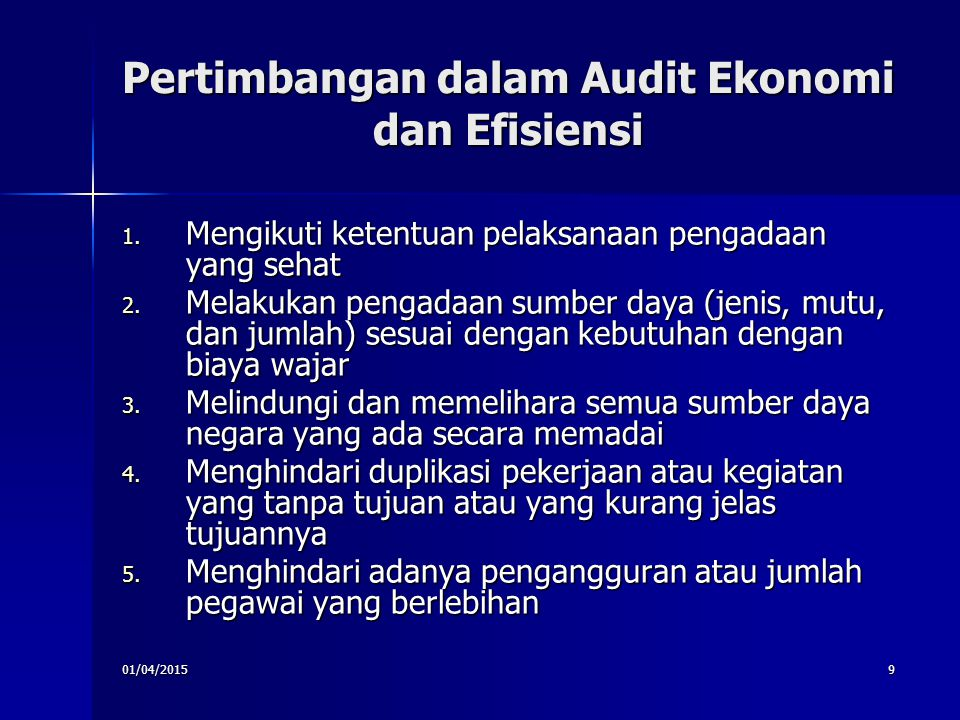 Pertimbangan dalam Audit Ekonomi dan Efisiensi
