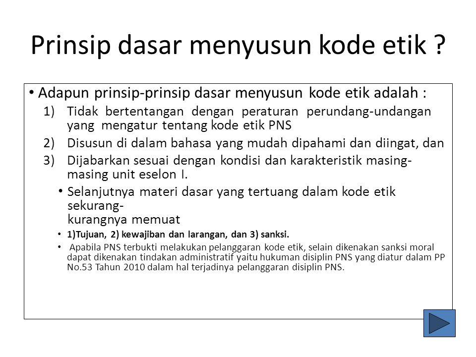 Prinsip dasar menyusun kode etik