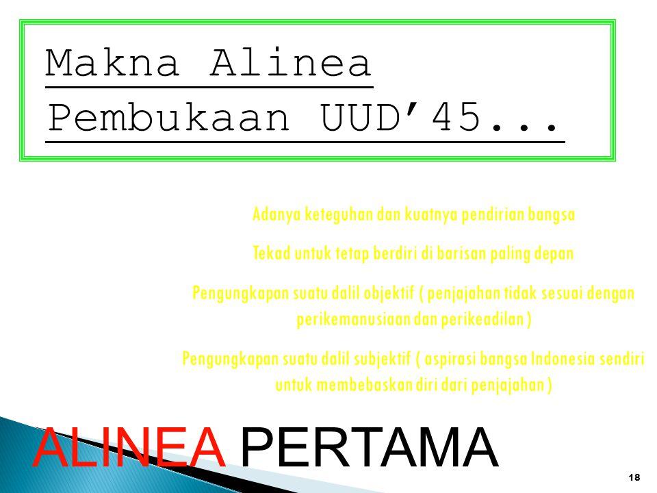 ALINEA PERTAMA Makna Alinea Pembukaan UUD'45...