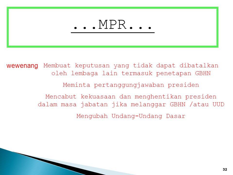 ...MPR... wewenang. Membuat keputusan yang tidak dapat dibatalkan oleh lembaga lain termasuk penetapan GBHN.