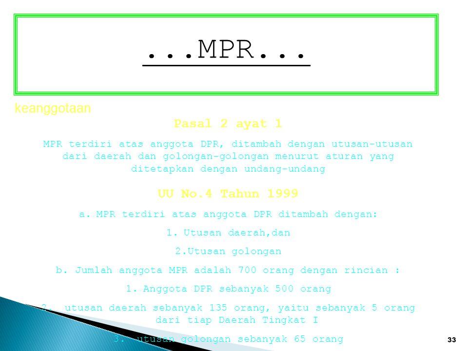 ...MPR... keanggotaan Pasal 2 ayat 1 UU No.4 Tahun 1999