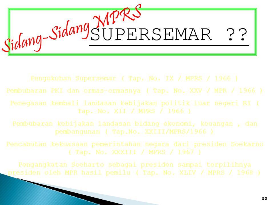 SUPERSEMAR Sidang-Sidang MPRS