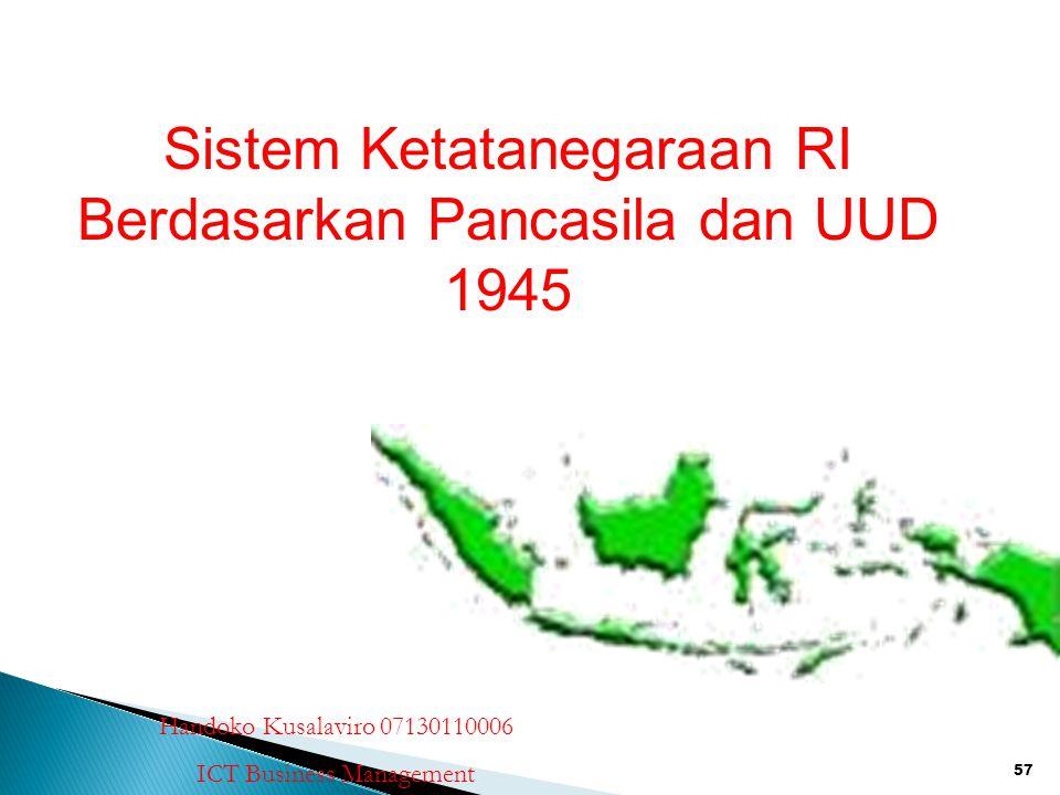 Sistem Ketatanegaraan RI Berdasarkan Pancasila dan UUD 1945