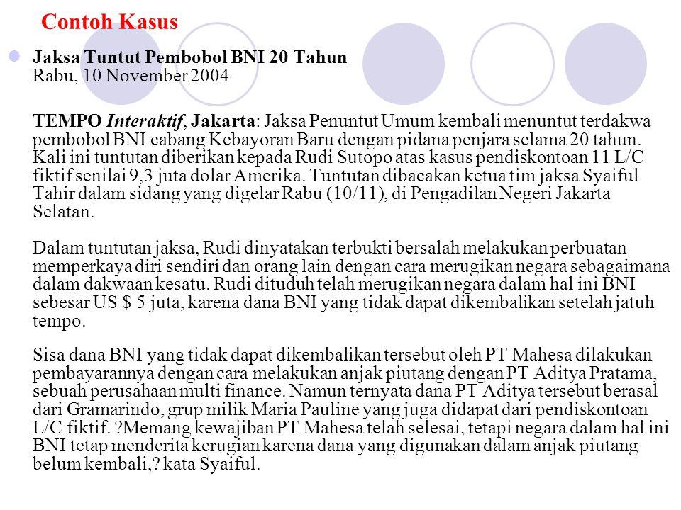 Contoh Kasus Jaksa Tuntut Pembobol BNI 20 Tahun Rabu, 10 November 2004