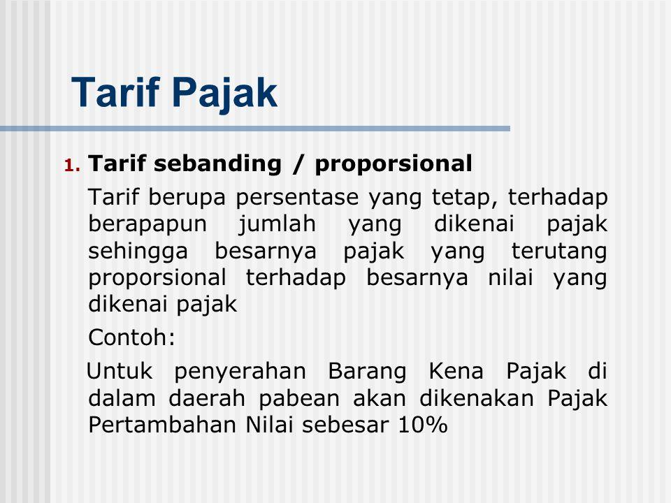 Tarif Pajak Tarif sebanding / proporsional