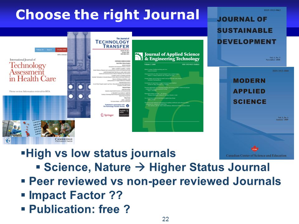 Choose the right Journal