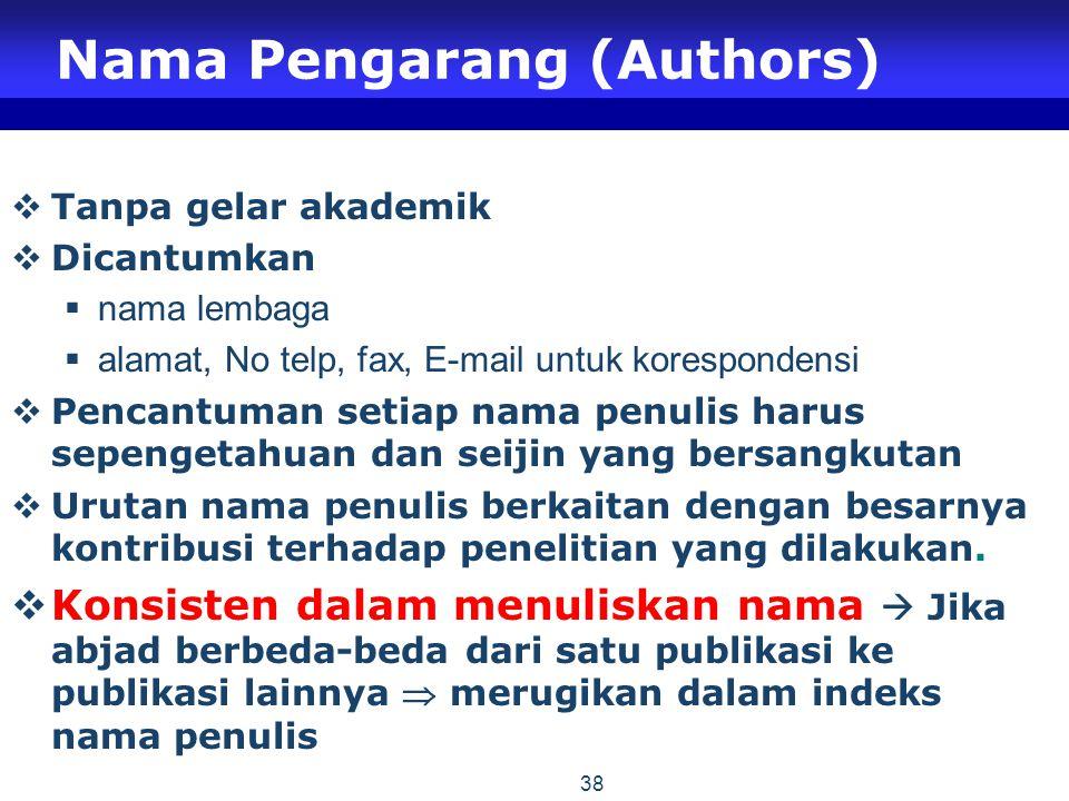 Nama Pengarang (Authors)