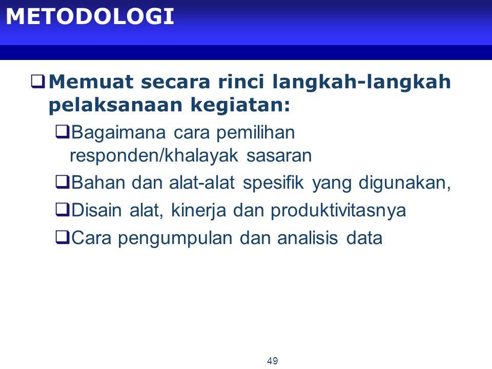 METODOLOGI Memuat secara rinci langkah-langkah pelaksanaan kegiatan: