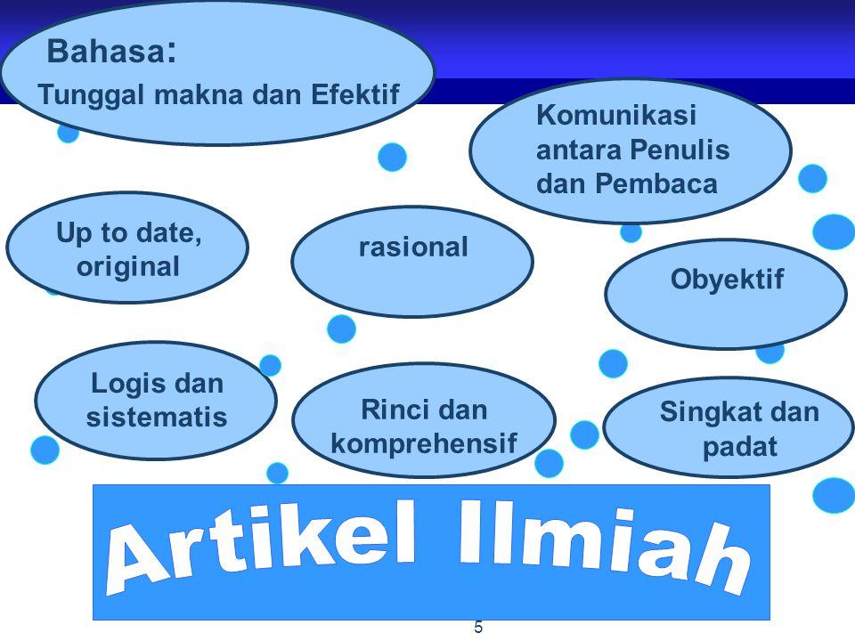 Artikel Ilmiah Bahasa: Tunggal makna dan Efektif Komunikasi