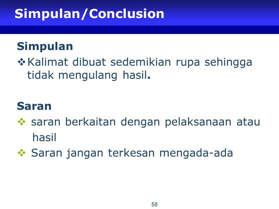 Simpulan/Conclusion Simpulan