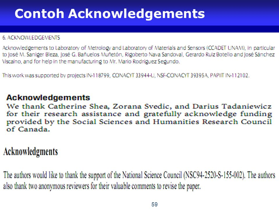 Contoh Acknowledgements