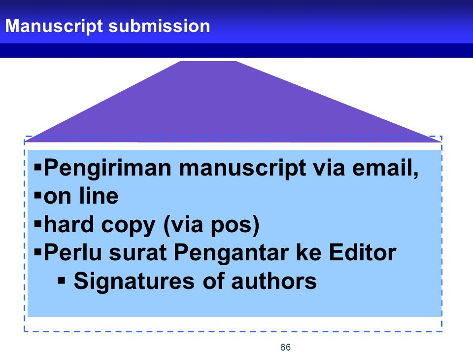 Pengiriman manuscript via email, on line hard copy (via pos)