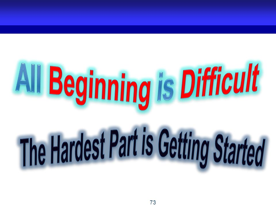 All Beginning is Difficult The Hardest Part is Getting Started