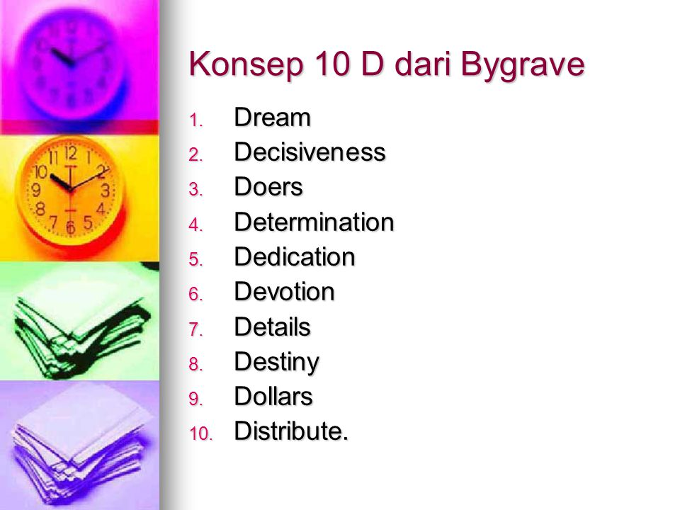 Konsep 10 D dari Bygrave Dream Decisiveness Doers Determination