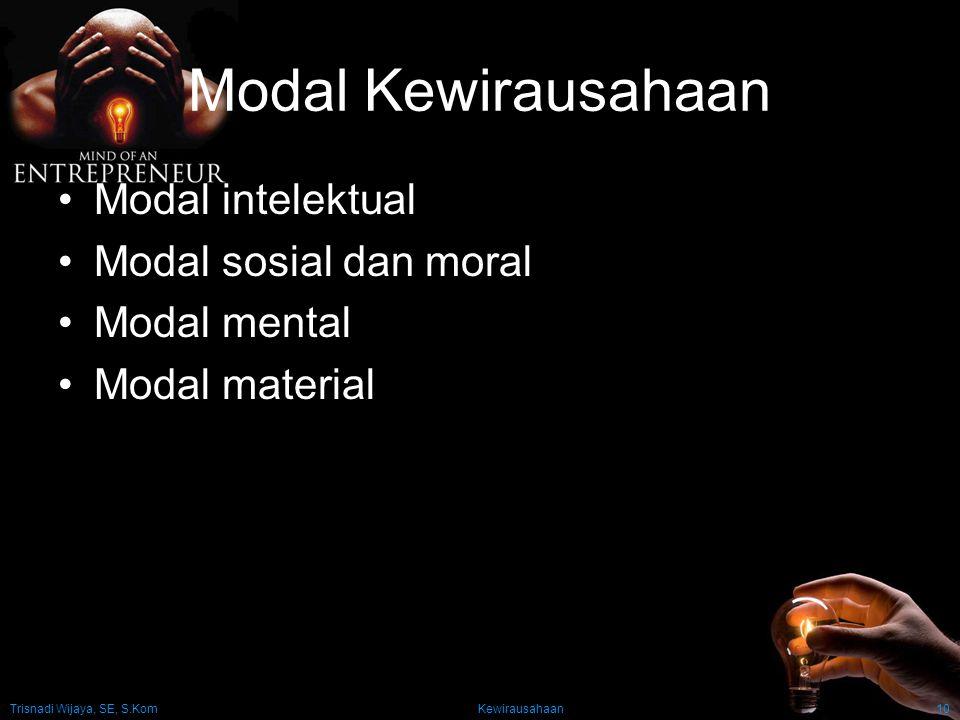 Modal Kewirausahaan Modal intelektual Modal sosial dan moral