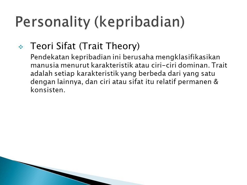 Personality (kepribadian)