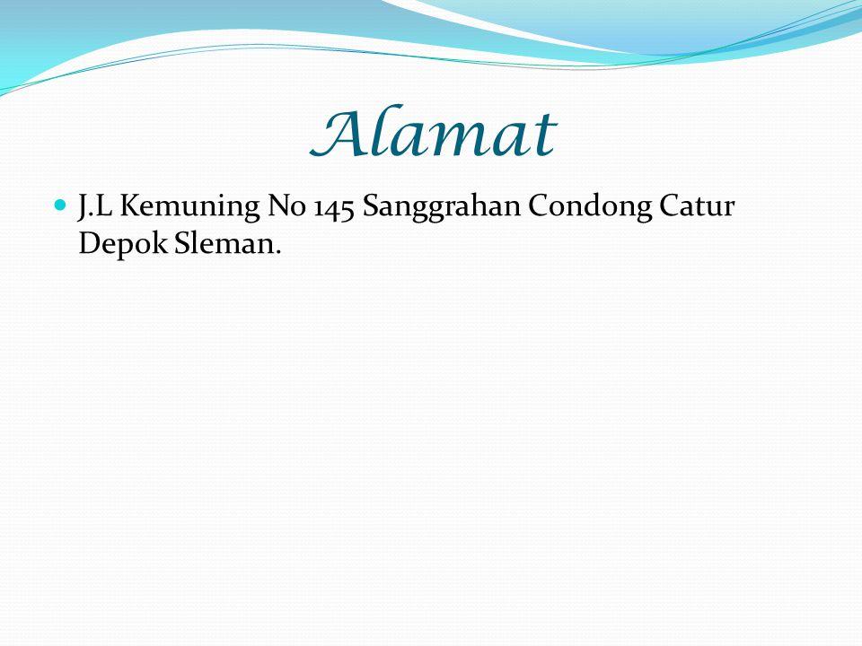 Alamat J.L Kemuning No 145 Sanggrahan Condong Catur Depok Sleman.