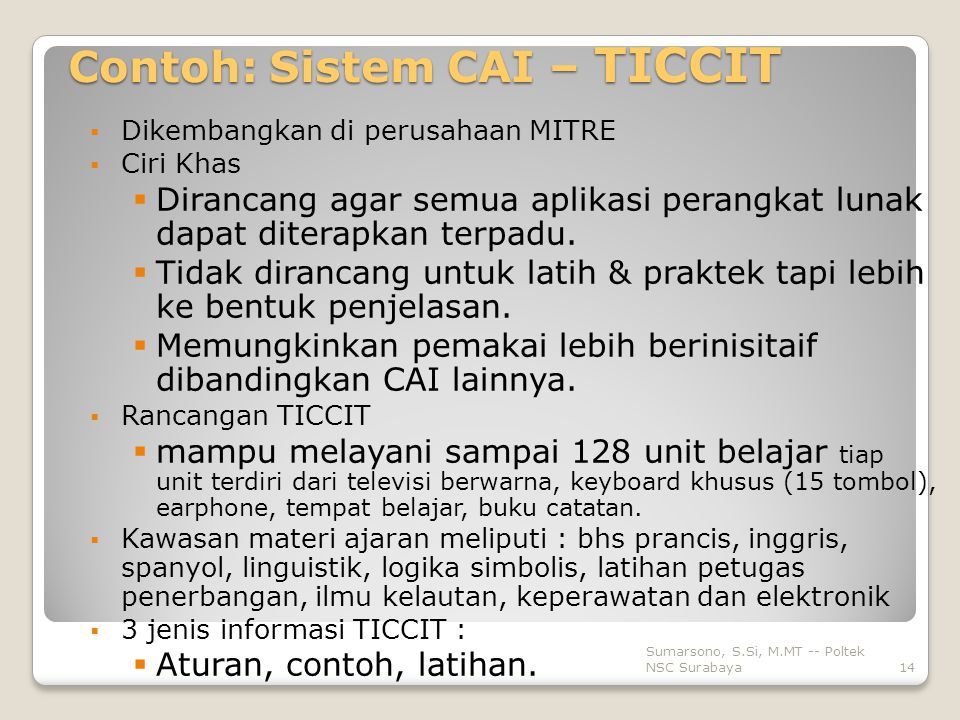 Contoh: Sistem CAI – TICCIT