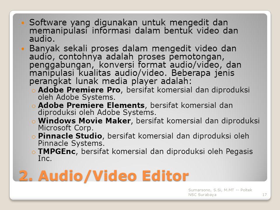 Software yang digunakan untuk mengedit dan memanipulasi informasi dalam bentuk video dan audio.