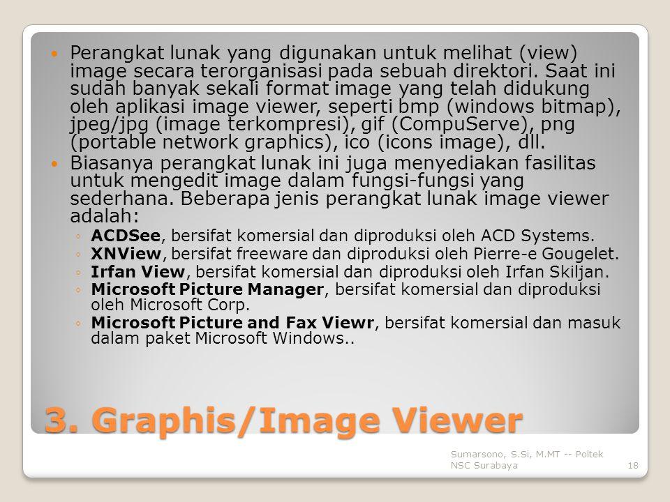 Perangkat lunak yang digunakan untuk melihat (view) image secara terorganisasi pada sebuah direktori. Saat ini sudah banyak sekali format image yang telah didukung oleh aplikasi image viewer, seperti bmp (windows bitmap), jpeg/jpg (image terkompresi), gif (CompuServe), png (portable network graphics), ico (icons image), dll.