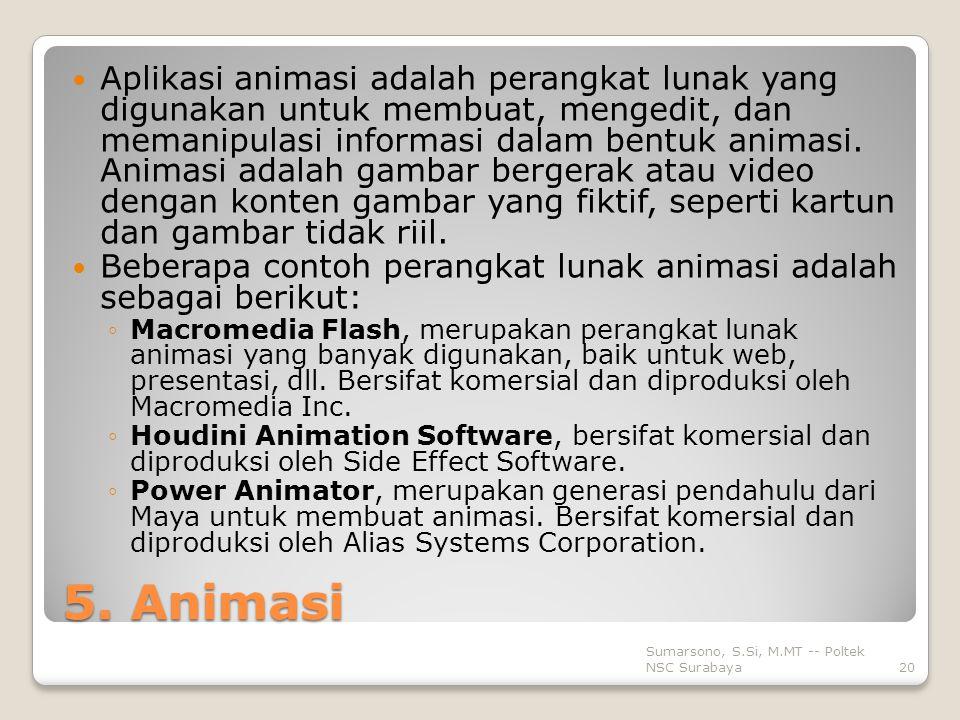 Aplikasi animasi adalah perangkat lunak yang digunakan untuk membuat, mengedit, dan memanipulasi informasi dalam bentuk animasi. Animasi adalah gambar bergerak atau video dengan konten gambar yang fiktif, seperti kartun dan gambar tidak riil.