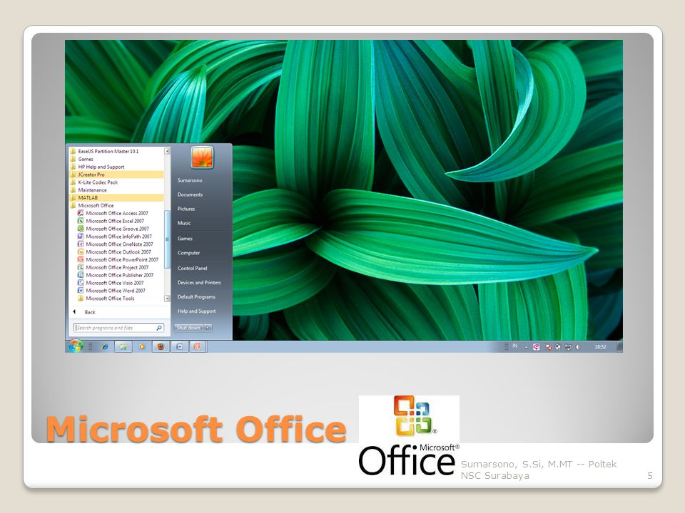 Microsoft Office Sumarsono, S.Si, M.MT -- Poltek NSC Surabaya