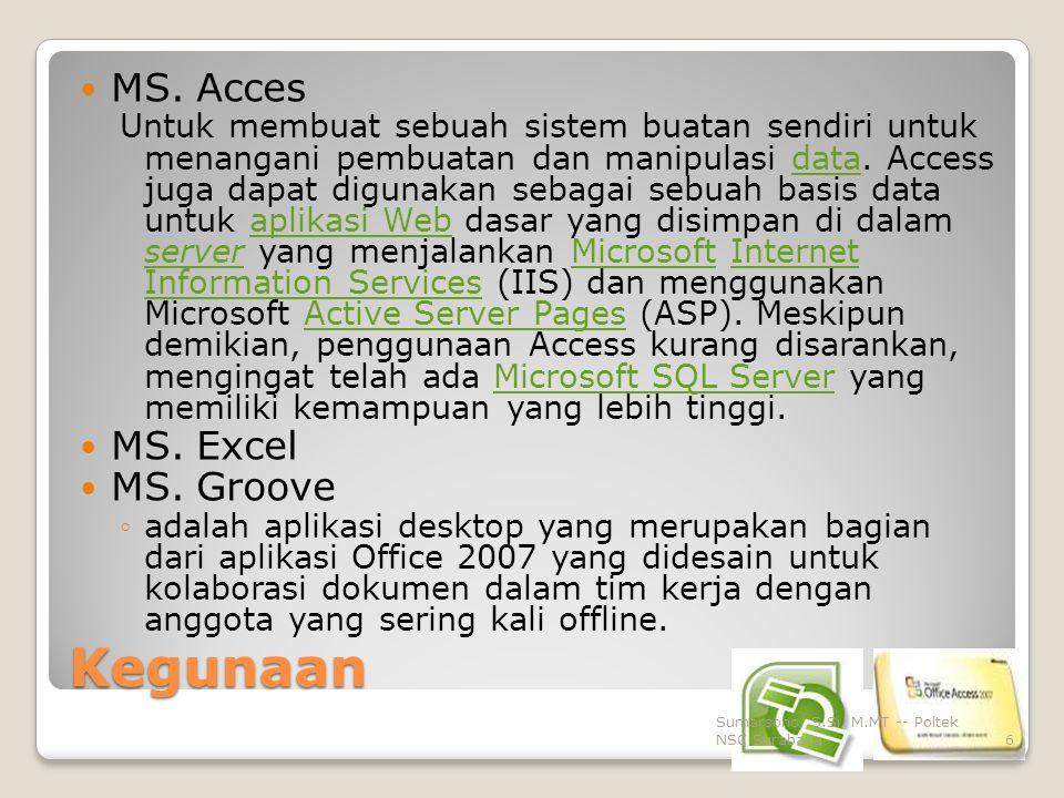 Kegunaan MS. Acces MS. Excel MS. Groove