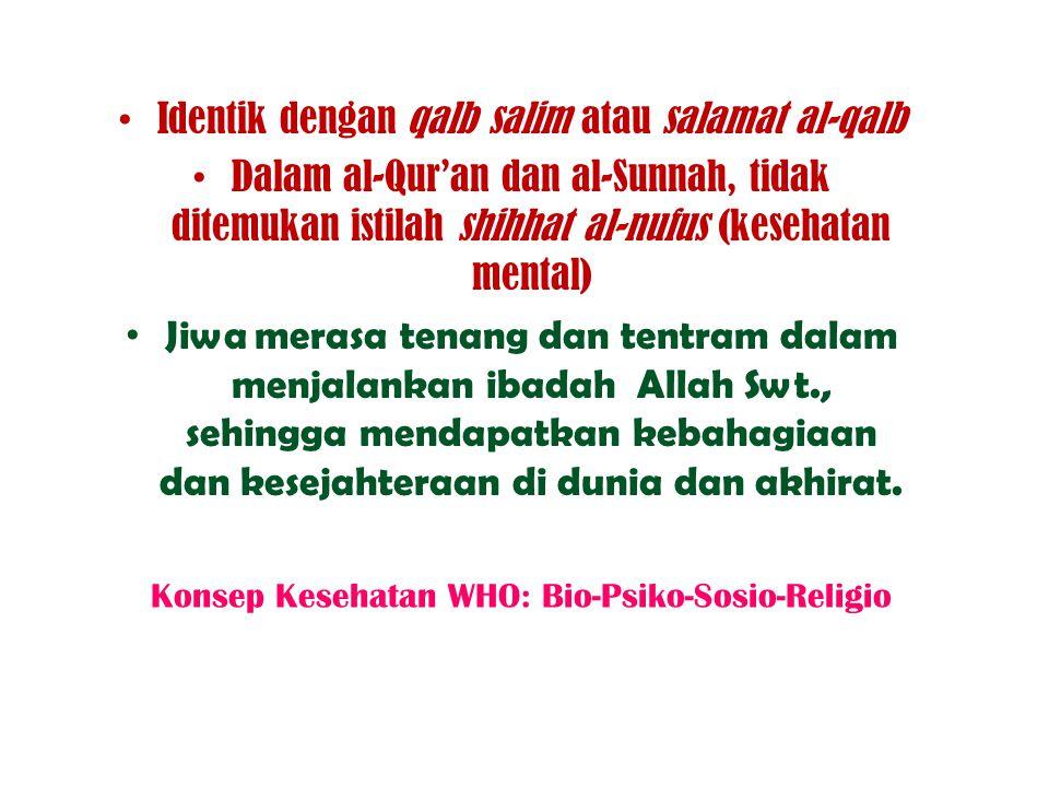 Identik dengan qalb salim atau salamat al-qalb