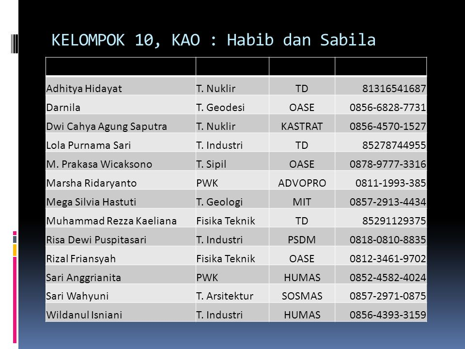 KELOMPOK 10, KAO : Habib dan Sabila