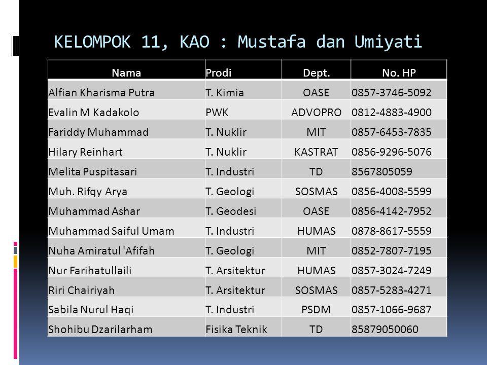 KELOMPOK 11, KAO : Mustafa dan Umiyati