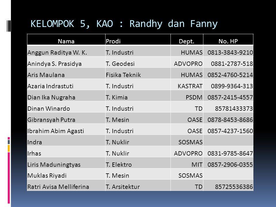 KELOMPOK 5, KAO : Randhy dan Fanny