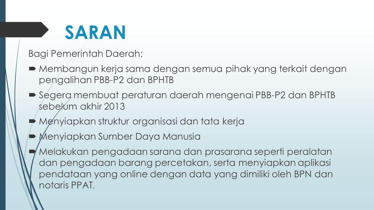 SARAN Bagi Pemerintah Daerah: