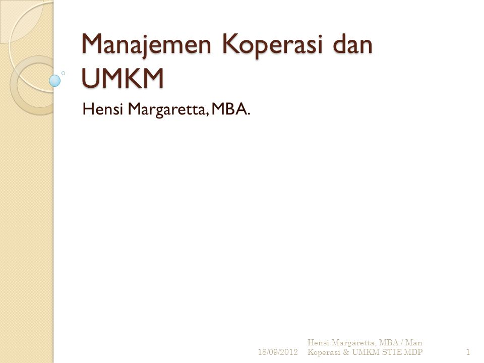 Manajemen Koperasi dan UMKM