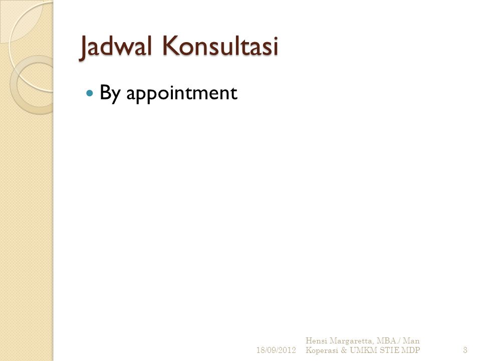 Jadwal Konsultasi By appointment