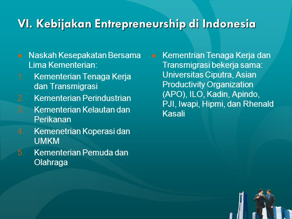 VI. Kebijakan Entrepreneurship di Indonesia