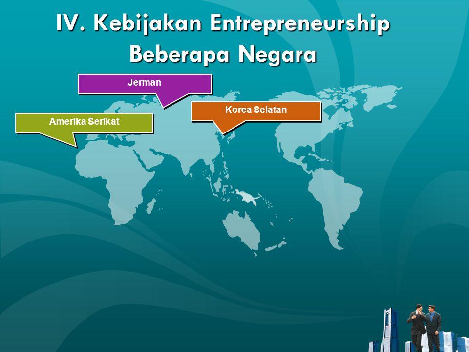 IV. Kebijakan Entrepreneurship Beberapa Negara