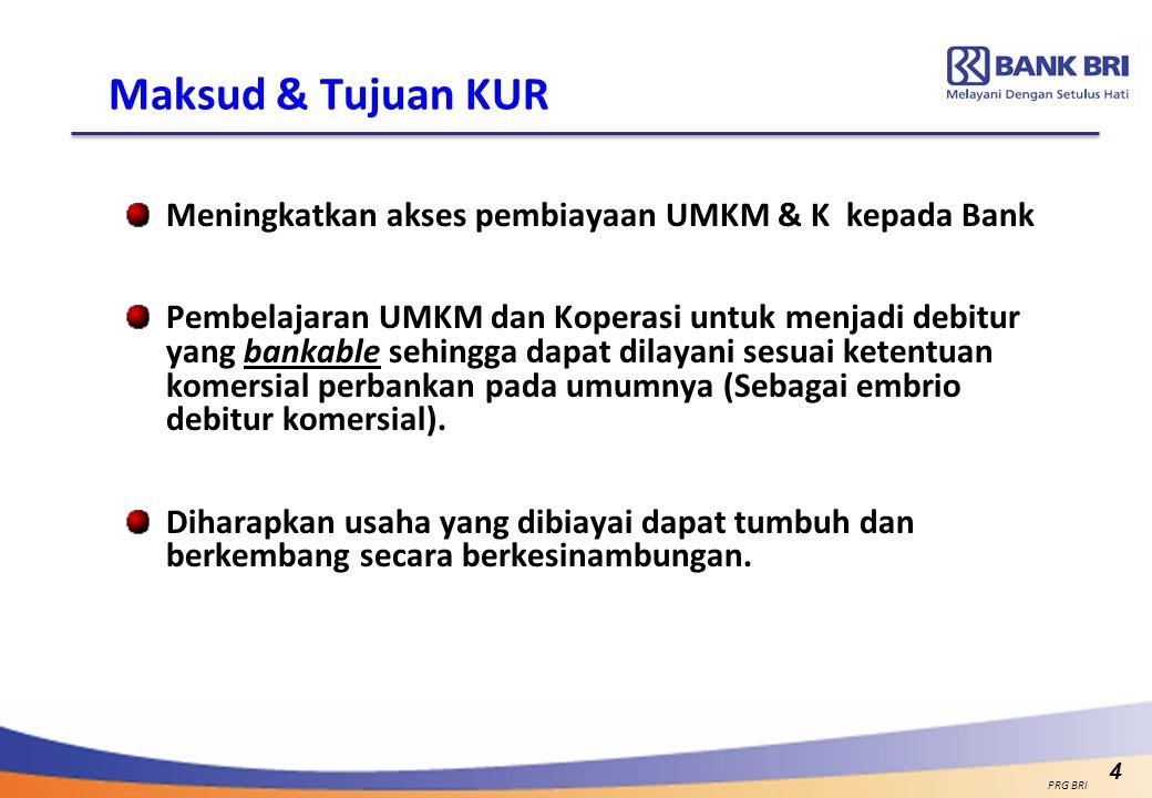 Maksud & Tujuan KUR Meningkatkan akses pembiayaan UMKM & K kepada Bank