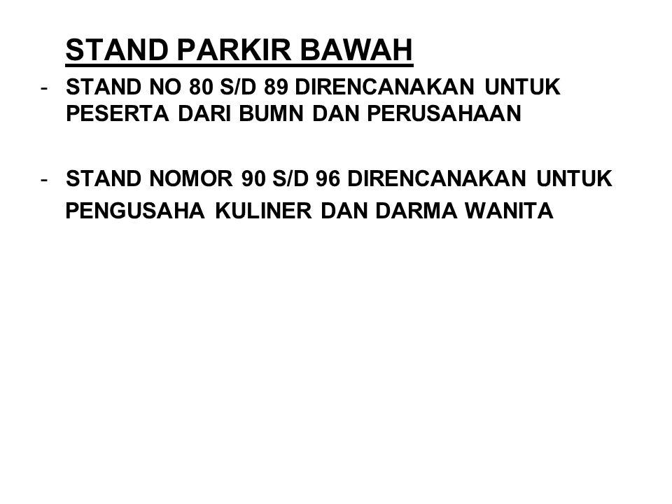 STAND PARKIR BAWAH STAND NO 80 S/D 89 DIRENCANAKAN UNTUK PESERTA DARI BUMN DAN PERUSAHAAN. STAND NOMOR 90 S/D 96 DIRENCANAKAN UNTUK.