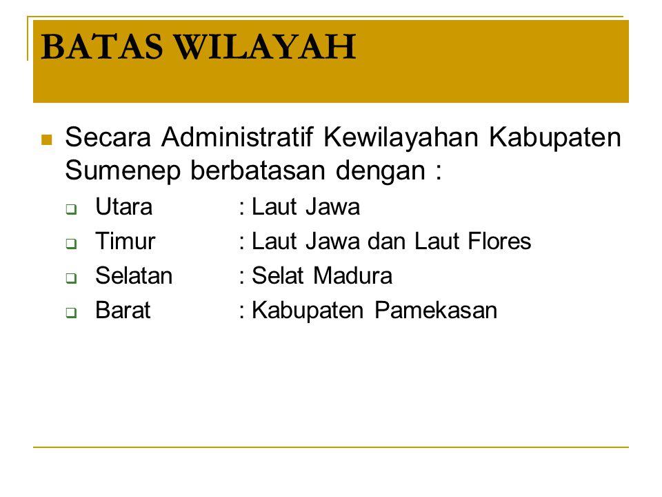 BATAS WILAYAH Secara Administratif Kewilayahan Kabupaten Sumenep berbatasan dengan : Utara : Laut Jawa.