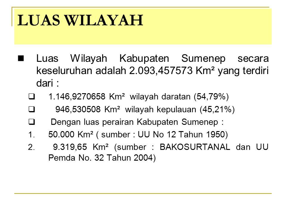 LUAS WILAYAH Luas Wilayah Kabupaten Sumenep secara keseluruhan adalah 2.093,457573 Km² yang terdiri dari :