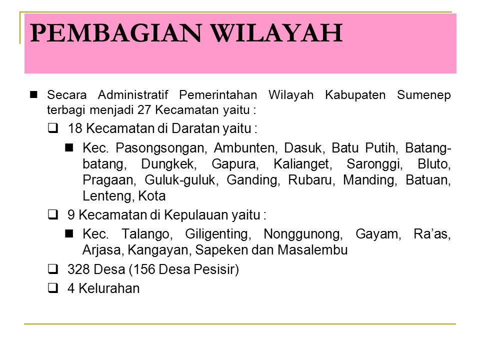 PEMBAGIAN WILAYAH 18 Kecamatan di Daratan yaitu :