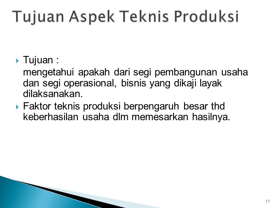 Tujuan Aspek Teknis Produksi