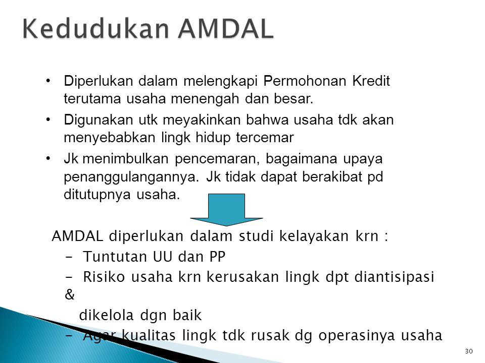 Kedudukan AMDAL Diperlukan dalam melengkapi Permohonan Kredit terutama usaha menengah dan besar.