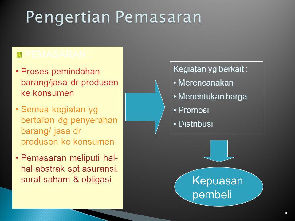 Pengertian Pemasaran Kepuasan pembeli PEMASARAN :